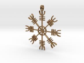 Aegishjalmur Icelandic Sign Viking Symbol Jewelry  in Natural Brass