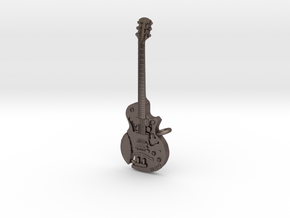 Steampunk Guitar pendant in Polished Bronzed Silver Steel