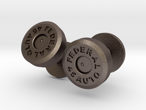 .45 Colt Bullet Cartridge Cufflinks in Polished Bronzed Silver Steel
