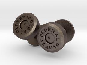 .45 Colt Bullet Cartridge Cufflinks in Polished Bronzed Silver Steel
