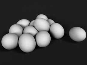 Ostrich Egg 1:45 Set of 12 Eggs in White Natural Versatile Plastic