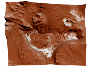 Mars Map: Light Outcrops in Red in Full Color Sandstone