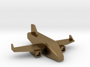 Low Poly 3D Airplane in Natural Bronze: Medium
