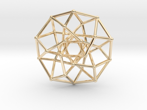 4D Archimedean Hyperform Toroidal Projection in 14k Gold Plated Brass