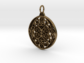 Christmas Holdiday Lace Ornament Pendant Charm in Natural Bronze
