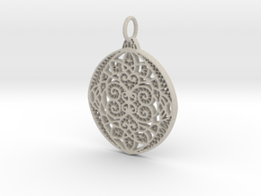 Christmas Holdiday Lace Ornament Pendant Charm in Natural Sandstone