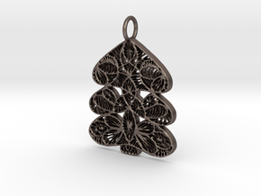 Christmas Tree Holdiday Lace Pendant Charm in Polished Bronzed Silver Steel