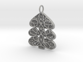 Christmas Tree Holdiday Lace Pendant Charm in Aluminum