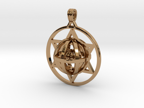 Ball In Star Of David pendant in Polished Brass (Interlocking Parts)
