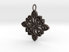 Lace Ornament Pendant Charm in Polished Bronzed Silver Steel