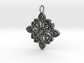 Lace Ornament Pendant Charm in Natural Silver