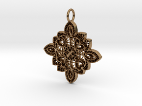 Lace Ornament Pendant Charm in Natural Brass