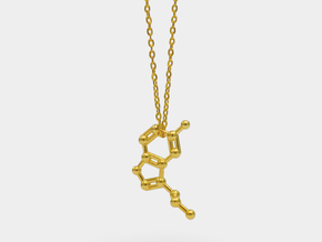 Serotonin Molecule Necklace in 18k Gold Plated Brass