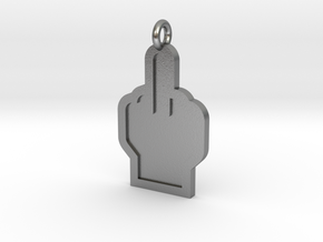 Middle Finger Pendant in Natural Silver
