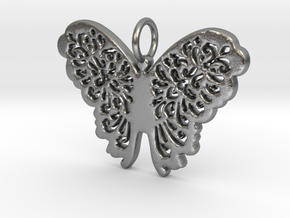 Flourish Lace Butterfly Pendant Charm in Natural Silver