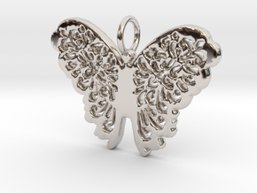 Flourish Lace Butterfly Pendant Charm in Rhodium Plated Brass