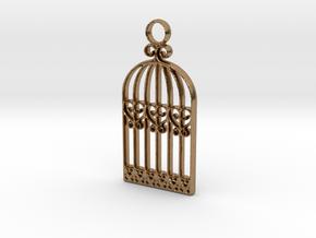Vintage Birdcage Pendant Charm in Natural Brass