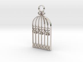 Vintage Birdcage Pendant Charm in Platinum