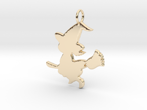 Cartoon Witch Cute Halloween Pendant Charm in 14k Gold Plated Brass
