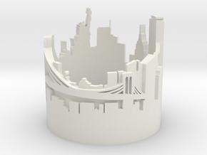 Ring NY New York Skyline in White Natural Versatile Plastic: 8 / 56.75