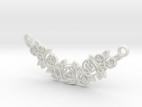 Roses Pendant Charm in White Natural Versatile Plastic