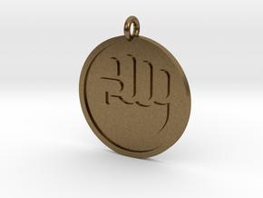 Raised Fist Pendant in Natural Bronze