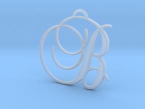 Elegant Script Monogram B Pendant Charm in Smooth Fine Detail Plastic