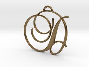 Elegant Script Monogram D Pendant Charm in Natural Bronze