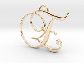 Elegant Script Monogram E Pendant Charm in 14K Yellow Gold