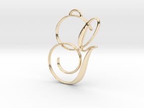 Elegant Script Monogram G Pendant Charm in 14K Yellow Gold