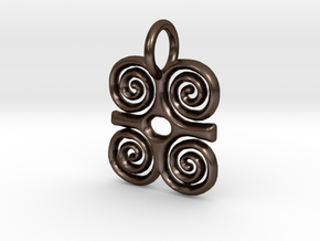 Adinkra-Strength Charms (individual) in Polished Bronze Steel