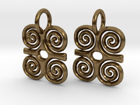 Adinkra-StrengthCharms (pair) in Natural Bronze