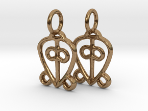 Power of Love Charms (pair) in Natural Brass
