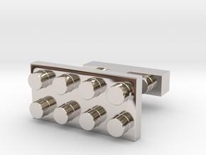 SCULP® Lego Sculpture Classic Cufflinks Rectangle in Rhodium Plated Brass