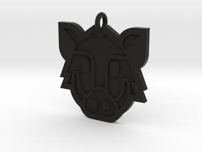Boar Pendant in Black Natural Versatile Plastic