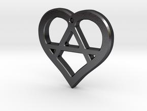 The Wild Heart (steel pendant) in Polished Grey Steel