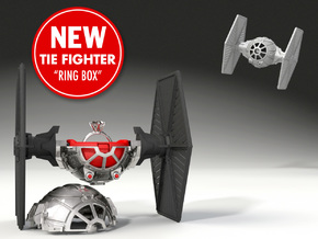 Tie Fighter Ring Box- Proposal/Engagement Ring Box in Black Natural Versatile Plastic
