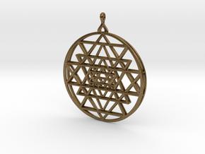 2.5D Sri-Yantra 4.5cm (Raw Metals) in Natural Bronze