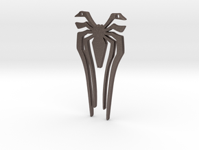 Spidey PS4 Front Logo in Polished Bronzed Silver Steel