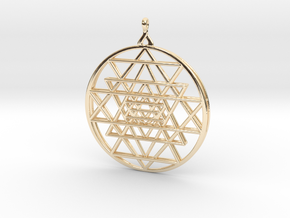 2.5D Sri-Yantra  6.3cm (All Metals) in 14k Gold Plated Brass
