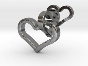 3 hearts pendant in Polished Silver (Interlocking Parts)