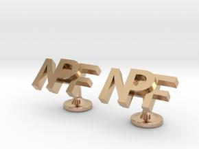 Personalised cufflinks NPF in 14k Rose Gold Plated Brass