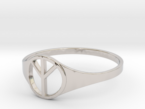 Peace ring size 8 in Rhodium Plated Brass