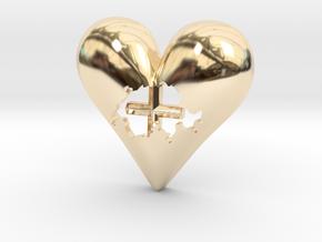 Switzerland (Suisse) in Heart Pendant in 14K Yellow Gold