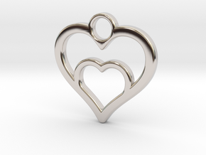 Heart in heart in Rhodium Plated Brass: Small