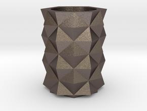 Prism Vase in Polished Bronzed Silver Steel