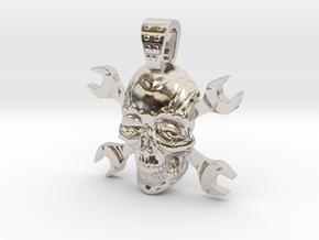 skull and keys in Rhodium Plated Brass