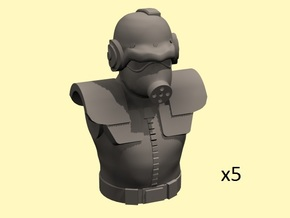 28mm Solar Empire guards torso+head (5) in Smoothest Fine Detail Plastic