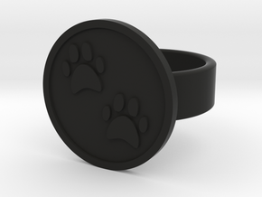 Paw Prints Ring in Black Natural Versatile Plastic: 8 / 56.75