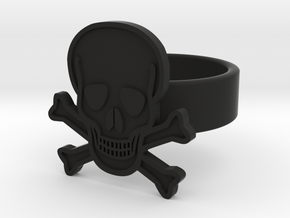 Skull & Crossbones Ring in Black Natural Versatile Plastic: 8 / 56.75